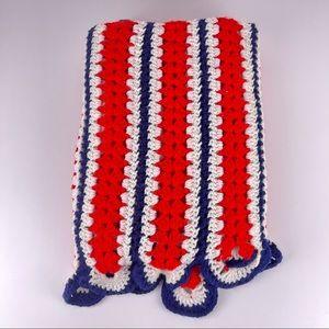 Vintage Crochet Knit Red White Blue Afghan Blanket